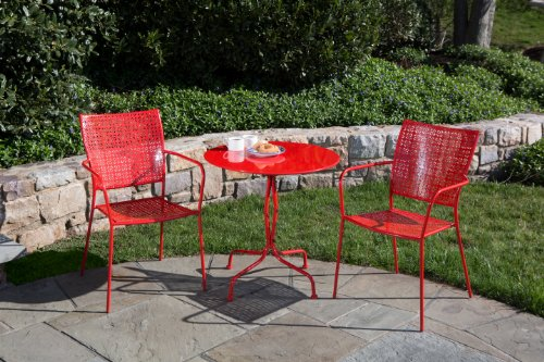 Alfresco Home Martini Round Bistro Set, Cherry Pie Finish, 27.5-Inch picture