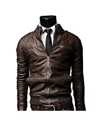 Wantdo Men's Fashion Faux Jackets Pu Leather Jackets With Removable Hood With Gift Chouyatou Men s Vintage Stand