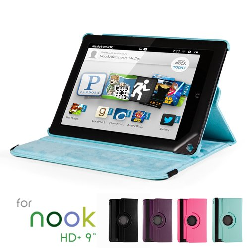 GMYLE(R) Aqua Blue 360 Degree Rotating PU leather Folio Stand Case Cover for Nook HD+ Plus 9 inches Barnes & Noble e-book Reader Tablet (Multi Angle