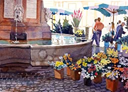 Flower Market in Aix, Giclee Print of Watercolor City Scene, Picture of a City Fountain Next to a European Flower Market, 15 X 19 Inches