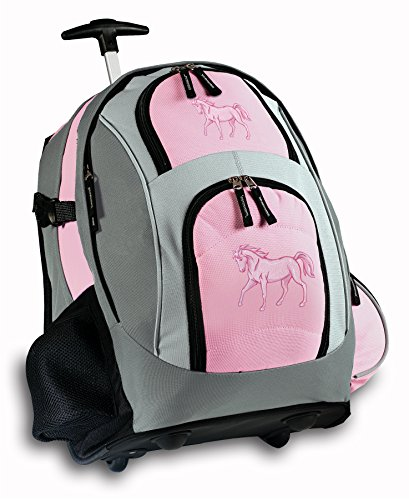 Pink Horse Rolling Backpack Horses Wheeled Travel Bag School Trolley Bags Horse