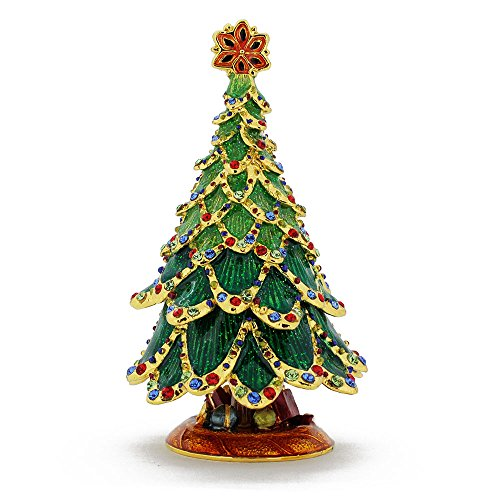 Gifts Under Tree Christmas Trinket Box with Swarovski Crystal