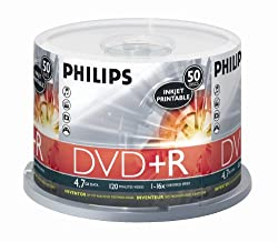 Philips 4.7GB 16X Inkjet Printable DVD+R (50pk Spindle, White)
