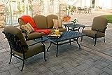 Meadow Décor A5SDP-W5448 Angelica 5-Piece Canvas Cork Sofa Deep Seating Set, Walnut