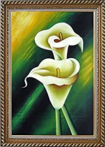Green background flower lily decorative stylish frame oil paintings