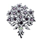 Pugster AlexAndrite Amethyst Swarovski Crystal Diamond Accent Bouquet Flower Vintage Brooches & Pins