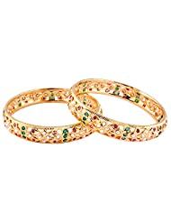 TKD Jewellers Multi-Colour Color Traditional Wear Gold Plated CZ Stones Bangle Set For Women (TKDJ067)