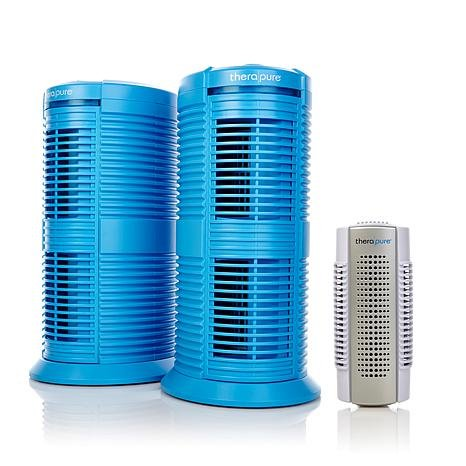 Therapure Triple Action Air Purifier 2-pack with Mini Plug-In Air Purifier BLUE