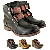 Womens Fly London Ska Military Biker Leather Boots