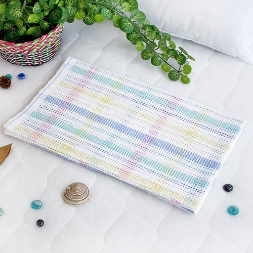 [Colorful Stripes] 100% Cotton Thermal Cellular Throw Blanket (31.9 By 42.9 Inches) front-936702