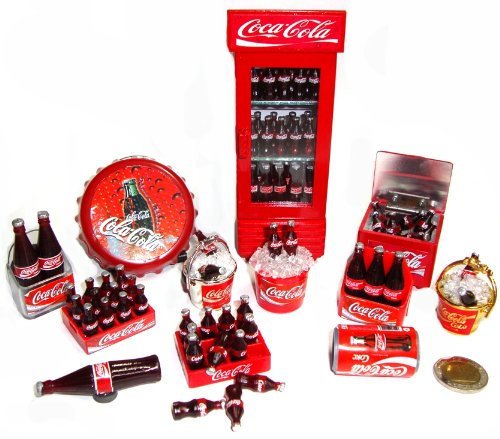 Coca Cola Cokei Collectables Dollhouse Miniature Refrigerator Cooler Fridge Magnet 12 Pcs/Set Can Bottle Crate Gold &Silver Bucket Opener Coca Cola front-186138