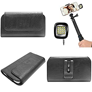 DMG Durable Cell Phone Pouch Carrying Case with Belt Clip Holster for Lava Flair P1 (Black) + 3.5mm Continuous LED Spotlight Flash
