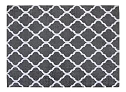 Chesapeake Merchandising 5-feet by 7-feet Flatweave Area Rug Moroccan Design in Grey and White