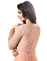 SK Creation Prachi Desai Peach Neck Embroidered Gown Style Anarkali Suit With Exclusive Back Work