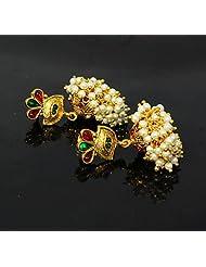 Beautiful & Stunning Green & Red Kundan With White Pearl Jhumka/Earring Set For Indian Women Jewellery