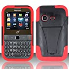 Samsung S390g (StraightTalk/Net 10/Tracfone) - HYBRID Dual Heavy Duty Hard Case and Soft Silicone Skin Cover w/ Kickstand - Red HYB