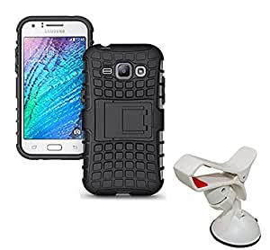 Aart Hard Dual Tough Military Grade Defender Series Bumper back case with Flip Kick Stand for Samsung JI-ACE + Car Mobile Holder Mount Bracket Holder Stand 360 Degree Rotating by Aart store.