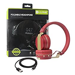iKare Wireless Bluetooth Foldable Headphones FM Stereo Sound for Apple iPhone/Android Smartphones/Laptop/iPad/Tablets (Red)