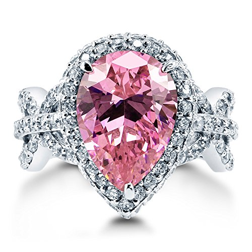 Berricle 925 Sterling Silver Pear Cut Pink Cubic Zirconia Cz Halo Fashion Right Hand Cocktail Ring