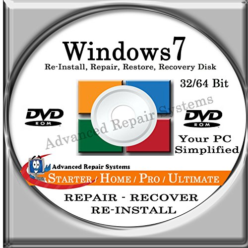 WINDOWS 7 SYSTEM REPAIR & RE-INSTALL 32 Bit & 64 Bit BOOT DISK: Repair & Re-install any version of Windows 7 Basic, Home, Premium and Ultimate (Repair-Restore-Reinstall) (Windows 7 Operating System Disc compare prices)