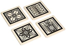 CoasterStone FWAS200 Metal Insert Absorbent Coasters, 4-1/4-Inch, \