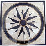 "Tile Floor Medallion Marble Mosaic North Star Design 24"""