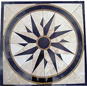 Tile Floor Medallion Marble Mosaic North Star Design 34 Amazon