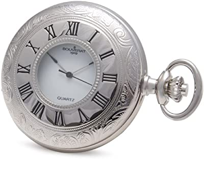 Bouverat 1919 Pocket Watch BV821203 Rhodium Plated Patterned Case Half Hunter
