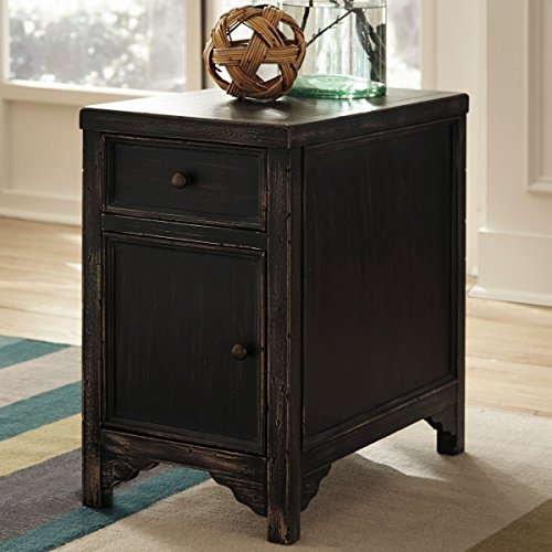 Ashley Furniture Signature Design Gavelston Chair Side End Table, Rubbed Black Finish front-958705
