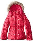Jessica Simpson Big Girls  Quilted Puffer Coat with Faux Fur Hood