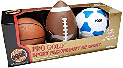 POOF-Slinky - Pro Gold Foam 9.5-Inch Football, 7-Inch Basketball and 7.5-Inch Soccer Ball 3-Ball Spo