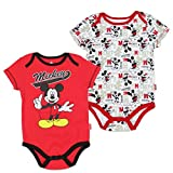 """Disney Baby Boys Mickey Mouse """"Creeper Onesie Bodysuit snapsuit"""" (2 Pack, Red)"""