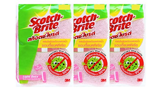 3M Scotch Brite Light Duty Sponge Antibacterial - 6 count/Pink color,Includes Silver Zeolite Substance- Silver Zeolite Substance can reduce odor and bacteria for more than 99% (Scotch Guard Couch Cover compare prices)