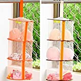 ONOR-Tech 2PCS 3 Tier Hanging Mesh Storage Closet Toys Organizer (Orange + Brown, 20'' x 10'')