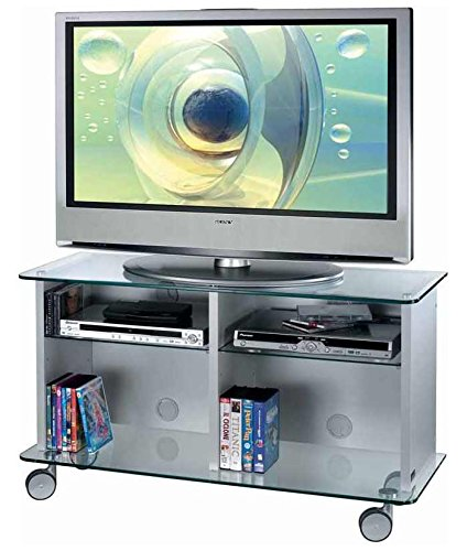 Mobile Porta TV e HiFi Guarnieri 348-65 in Melaminico Silver con base e piano superiore in cristallo temperato spessore 10 cm