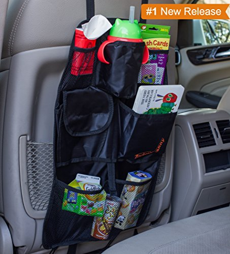 Back Seat Car Organizer - Best Backseat Auto Organizer For Kids and Baby - Contains Pockets For Toy Storage and is Great For Travel And Pet Supplies - Seat Back Kick Mat Protector - Fits Most Cars, Minivans and SUV's - 1