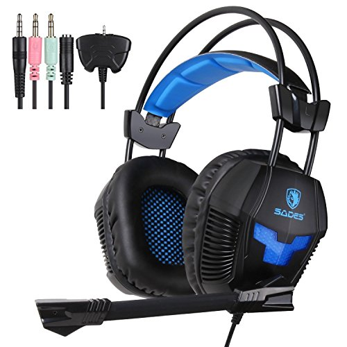 UL [2016 New Update]SADES Stereo Gaming Headset, SA921 Lightweight Over Ear Computer Gaming Headphones 3.5mm Jack with Mic for Laptop PC/MAC/PS4/XBOX ONE/Phones With Splitter Adapter(Black Blue)