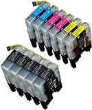 【ノーブランド品】(11 色セット)Brother LC12 ブラザー 【互換インクカートリッジ 】 (DCP-J525N, DCP-J925N, DCP-J940N, MFC-J705D, MFC-J825N, MFC-J955D, MFC-J6710CDW, MFC-J6910CDW)