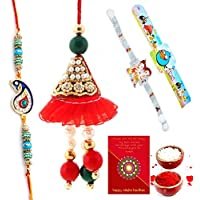 TRADITION INDIA Traditional Floral Design Handcrafted Multi-Color Mauli Thread And Beads Rakhi Set Of 4 Piece...