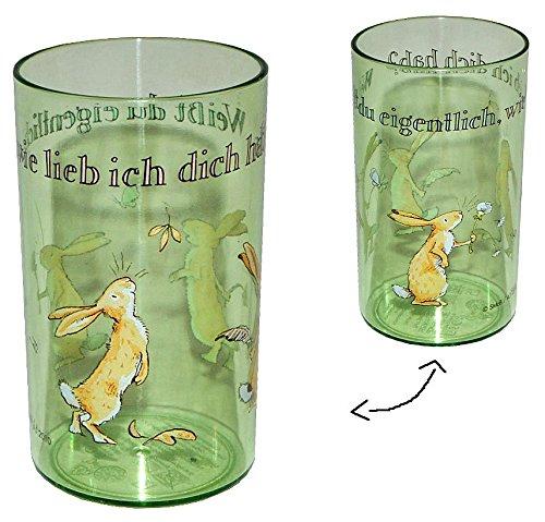 Weit-Du-eigentlich-wie-lieb-ich-Dich-hab-Hase-3-in-1-Trinkbecher-Zahnputzbecher-Malbecher-Plastik-Becher-grn-Kindertrinkbecher-Saftglas-Lernbecher-Kunststoffbecher