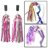 AMOS Bicycle Bike Cycle Tricycle Trike Fun Kids Girls Childrens Handlebar Sparkle Retro Streamers Tassels Pink Blue Purple Red Gold 2 Pack