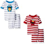 Sesame Street Boys' Toddler Elmo and Cookie Monster 4 Piece Pajama Short Set
