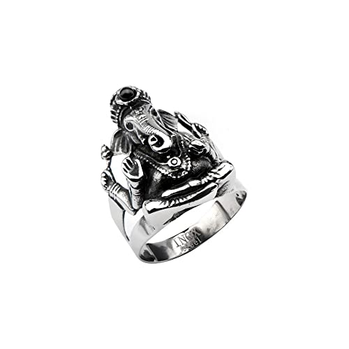 INOX Men's Stainless Steel Black Oxidized Ganesh Ring