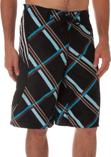Mens Three Tone Check Pattern Design Surf Board Short / Swim Trunks