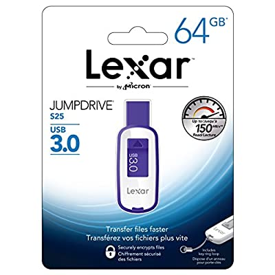 Lexar® Jump Drive® S25 64GB USB 3.0 High Speed Flash Pen Drive with Key Ring (Purple)