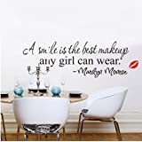 "Weksi Wandtattoo Wandsticker ""A Smile Is The Best Makeup Any Girl Can Wear"" Wandaufkleber Wandbilder Schlafzimmer Kinderzimmer Dekor PVC"