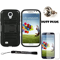Black Hybrid Dual Skin with Back Snap On Case and Stand For Samsung Galaxy S4 Android Smartphone 4G LTE (Jelly Bean) + Silver Swarovski Crystal Headphone Jack Dust Plug + Samsung Galaxy S4 Screen Guard Protector + an eBigValue TM Determination Hand Strap