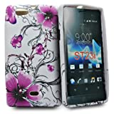 Phonedirectonline- Purple flower design silicone case cover for Sony xperia miro st23i