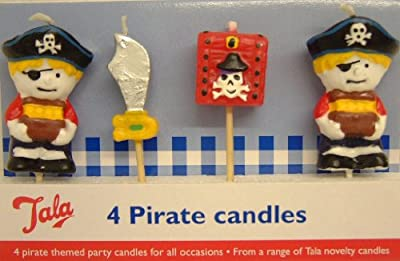 4 Pc Piece Pirate Themed Party Candles Cocktail Sticks from Tala