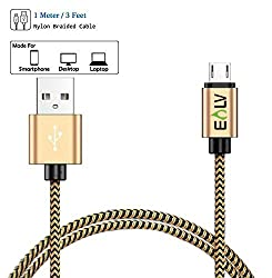 E LV (1m) Android USB Cable Premium Quality, Designer, Fast Charging and Durable, Data USB Heavy Duty Cable for All Blackberry, Samsung Smart Phones, HTC, HUAWEI, MICROMAX, Motorola Moto, Nokia Lumia - GOLD